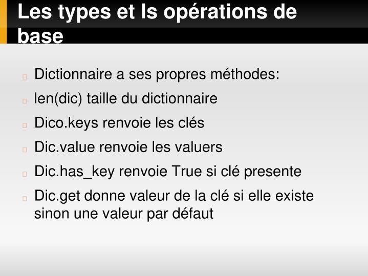 Les types et ls opérations de base