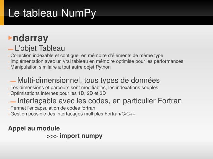 Le tableau NumPy