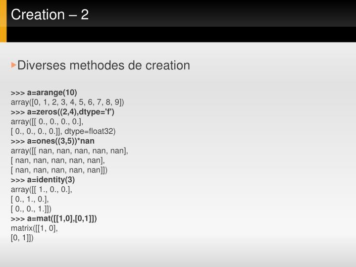 Creation – 2