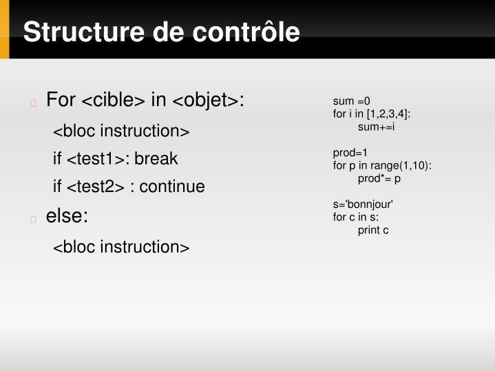 Structure de contrôle