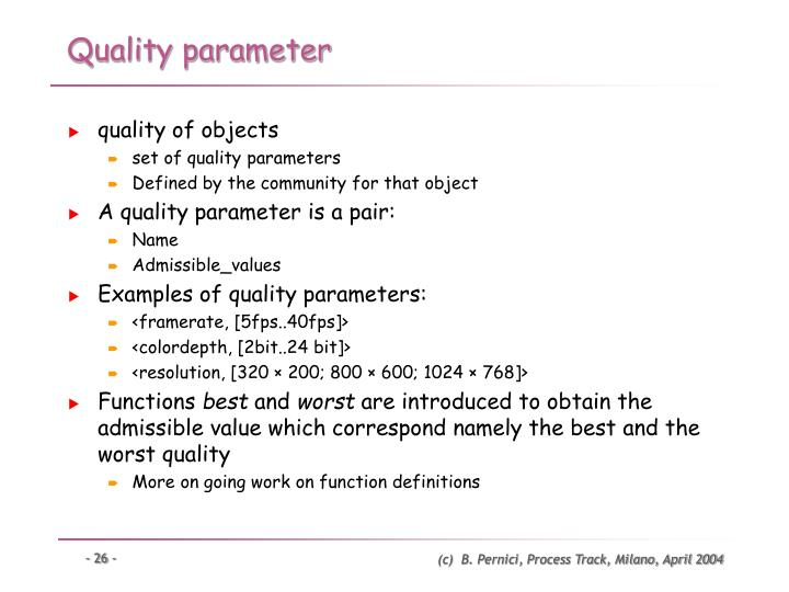 Quality parameter