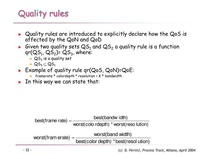 Quality rules