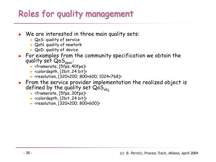 Roles for quality management