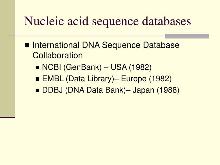 Nucleic acid sequence databases