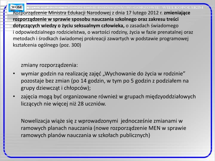 Rozporządzenie Ministra Edukacji Narodowej z dnia 17 lutego 2012 r.