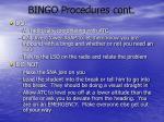 bingo procedures cont