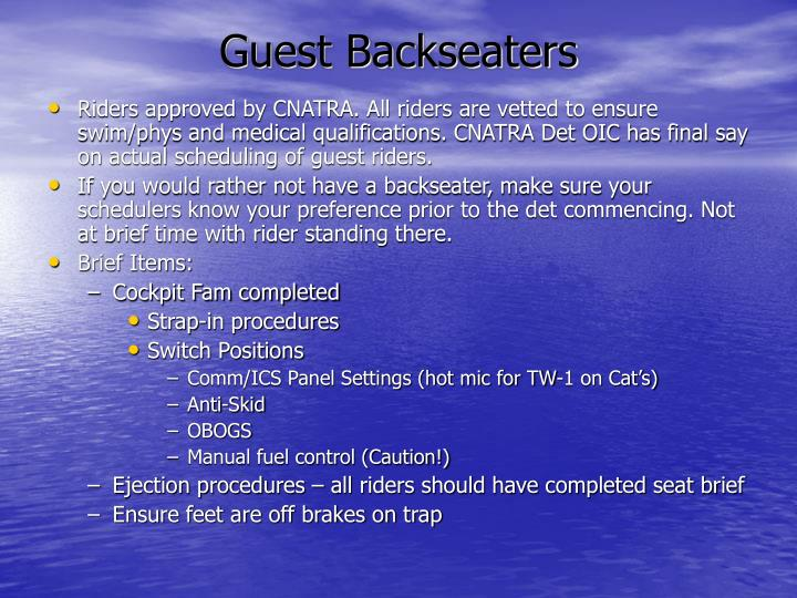 Guest Backseaters