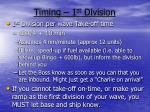 timing 1 st division