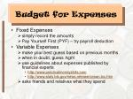 budget for expenses