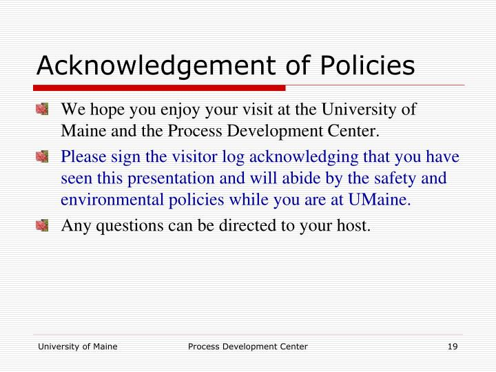 Acknowledgement of Policies