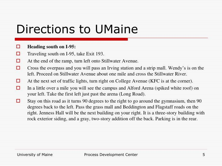 Directions to UMaine