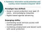 4 summary innovative social protection and a policy vision towards beyond 2015