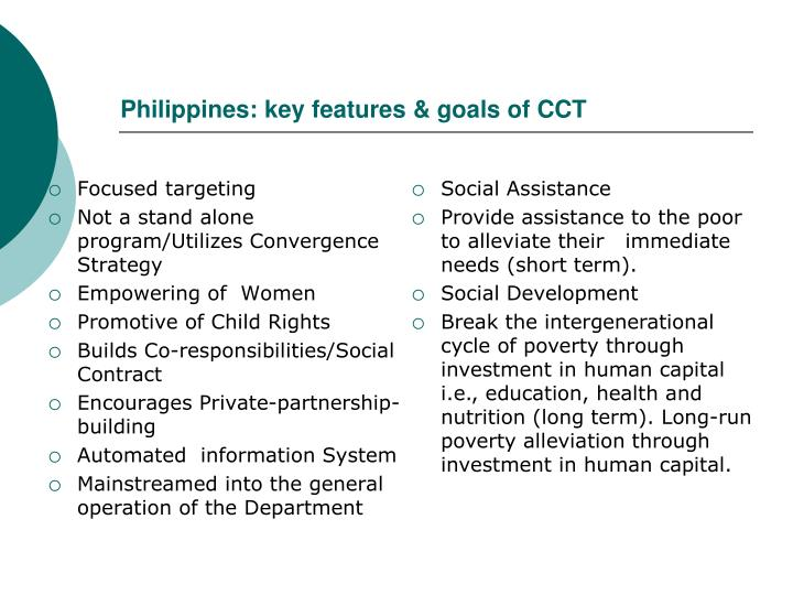 Philippines: key features & goals of CCT