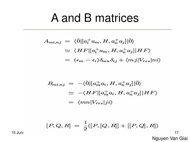 A and B matrices