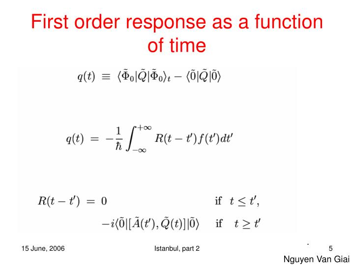 First order response as a function of time