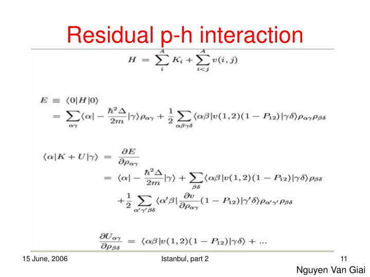 Residual p-h interaction
