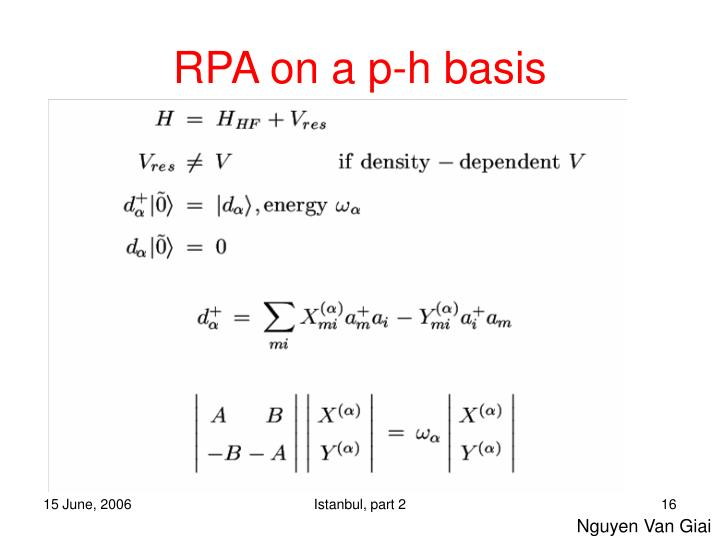 RPA on a p-h basis