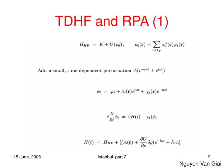TDHF and RPA (1)