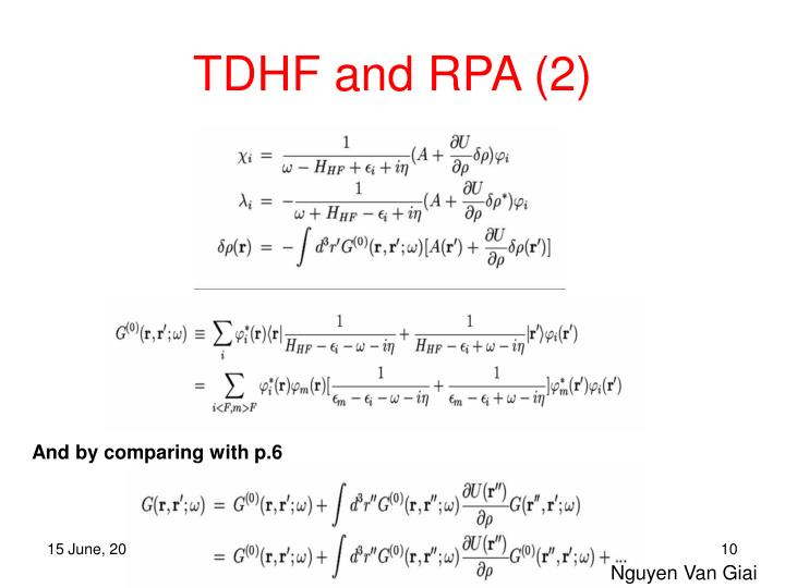 TDHF and RPA (2)