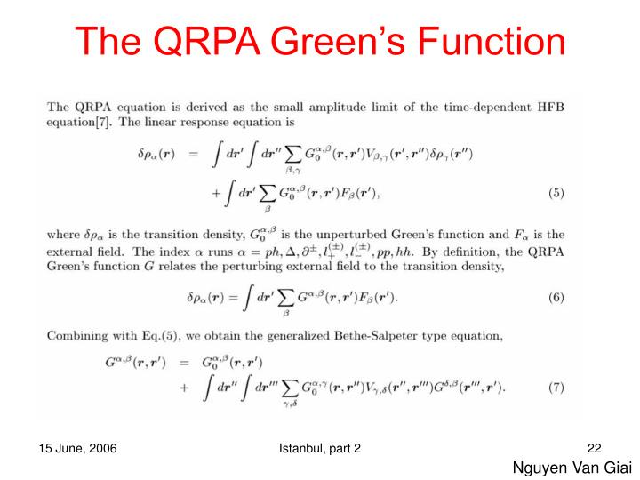 The QRPA Green's Function