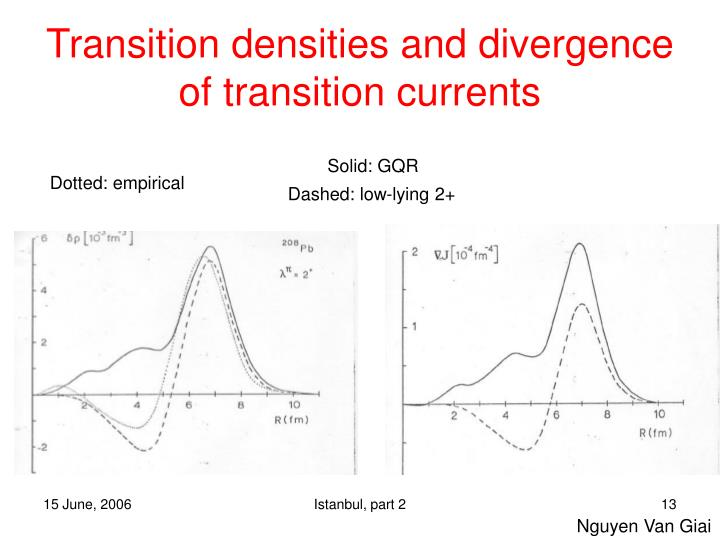 Transition densities and divergence of transition currents