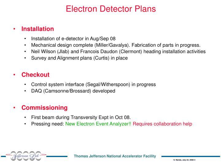 Electron Detector Plans