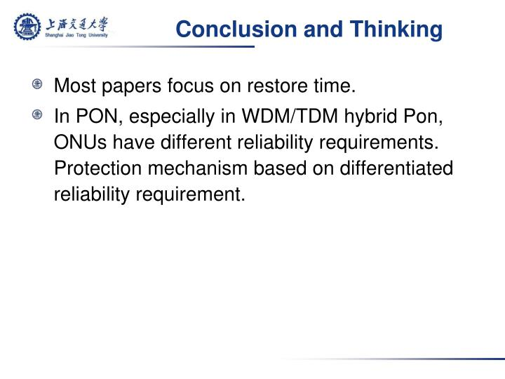 Conclusion and Thinking