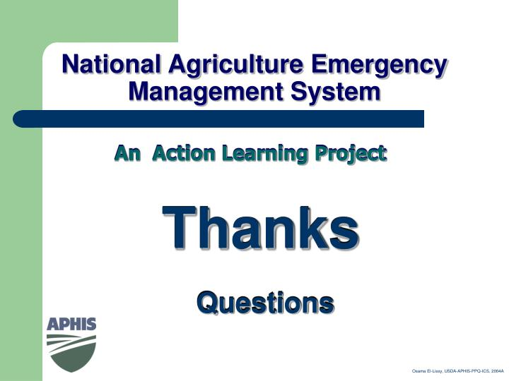 National Agriculture Emergency Management System