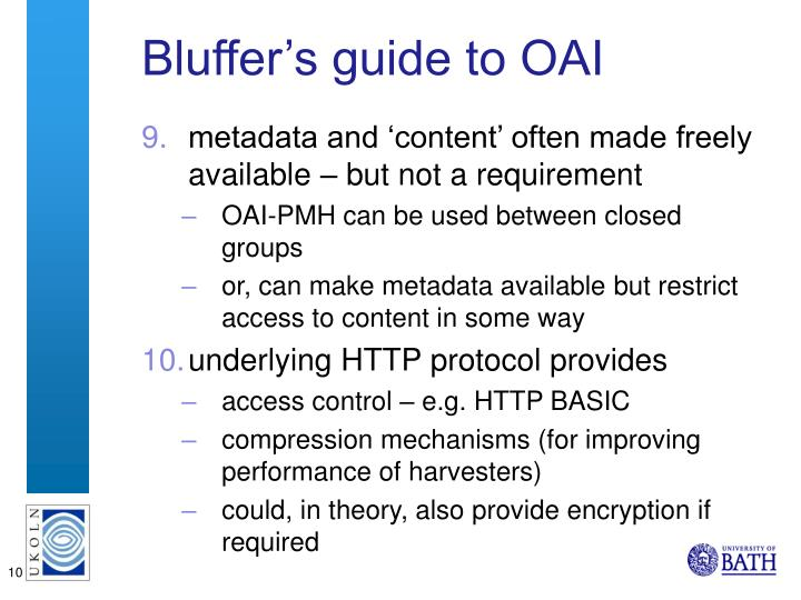 Bluffer's guide to OAI