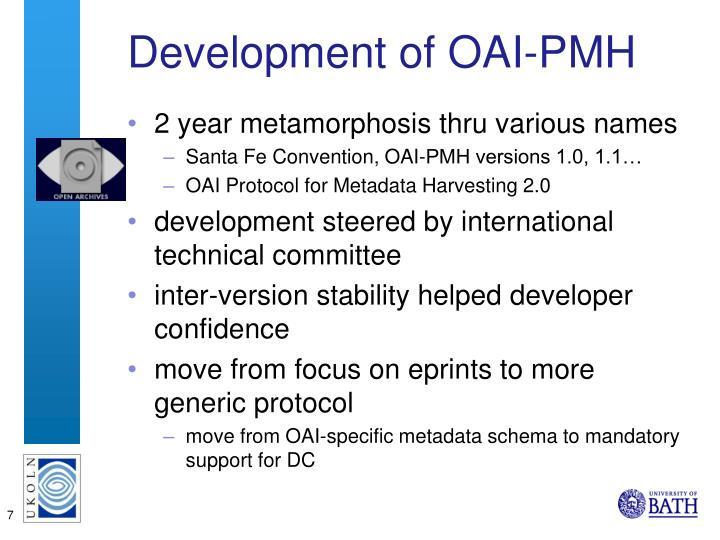 Development of OAI-PMH