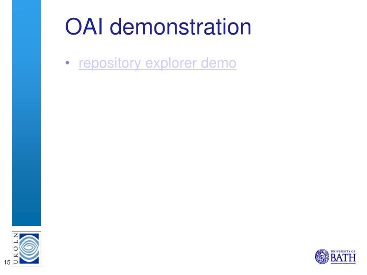OAI demonstration