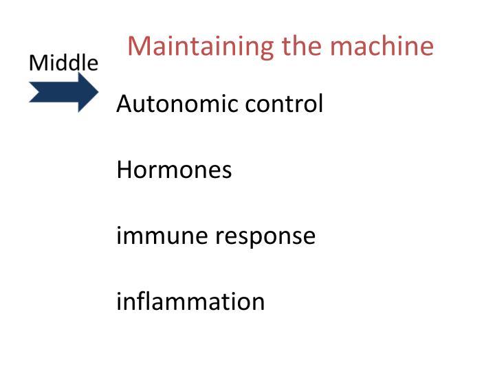 Maintaining the machine