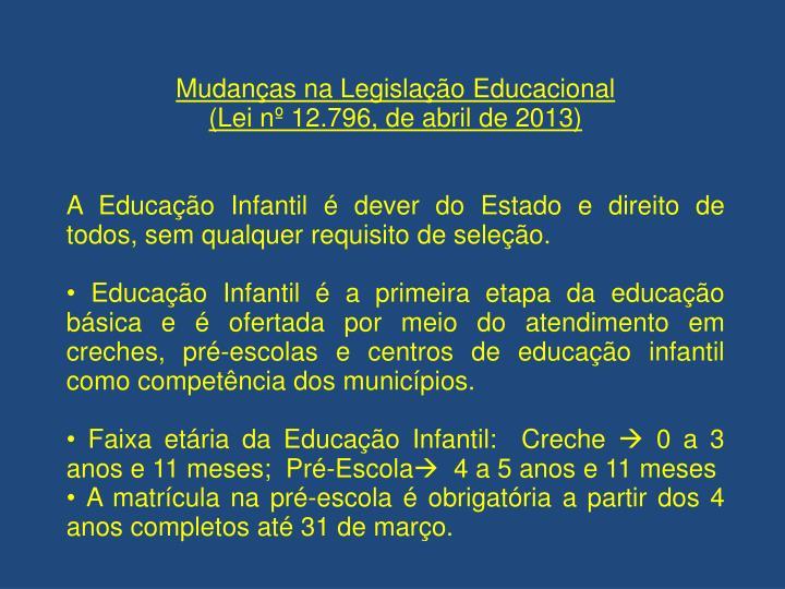 Mudanças na Legislação Educacional
