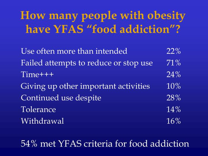"""How many people with obesity have YFAS """"food addiction""""?"""