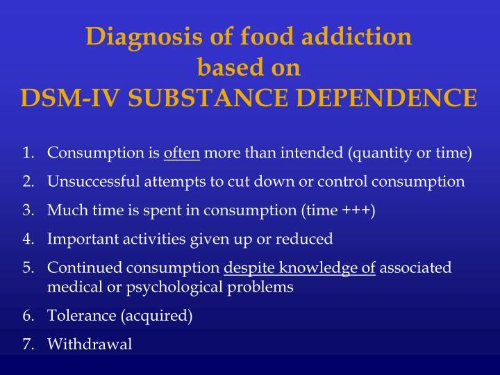 Diagnosis of food addiction
