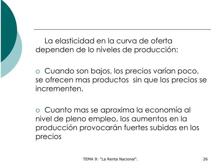La elasticidad en la curva de oferta dependen de lo niveles de producción: