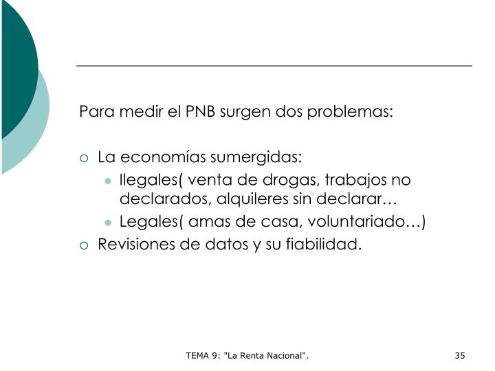 Para medir el PNB surgen dos problemas: