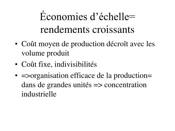Économies d'échelle= rendements croissants