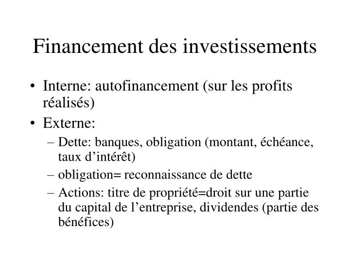 Financement des investissements