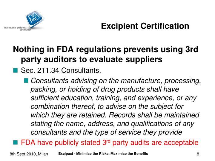 Excipient Certification