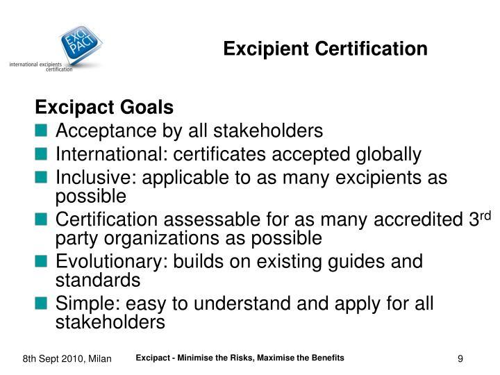 Excipact Goals