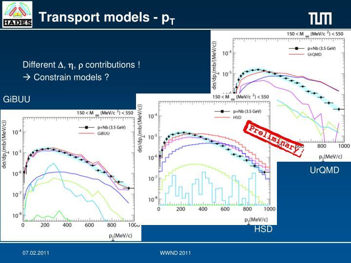 Transport models - p