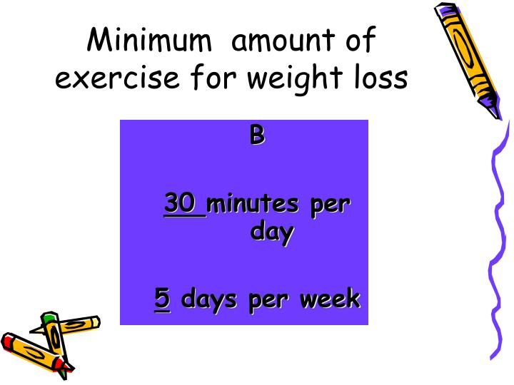 Minimum  amount of exercise for weight loss