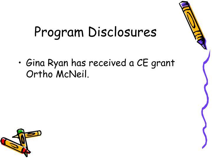 Program Disclosures