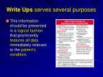 write ups serves several purposes1