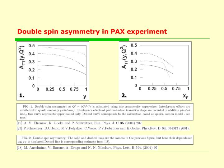 Double spin asymmetry in PAX experiment