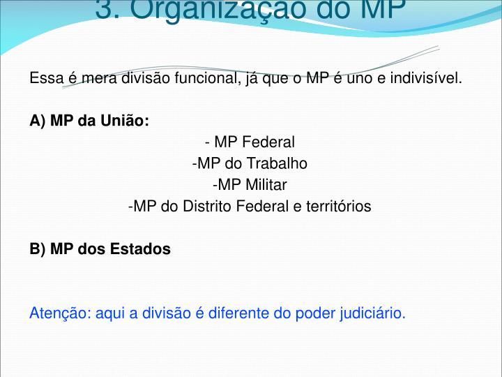 3. Organização do MP