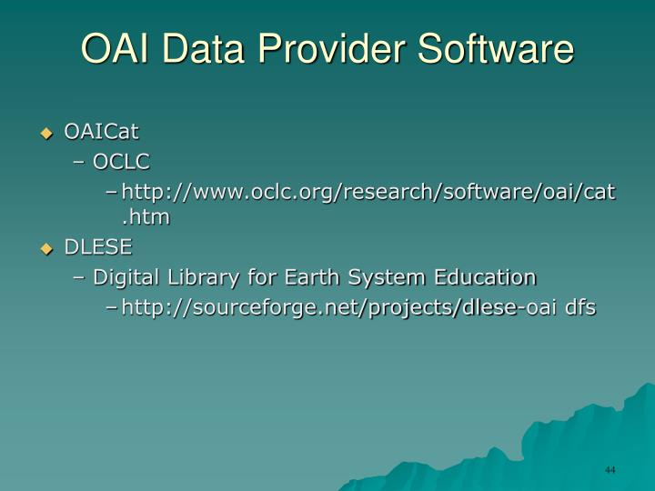 OAI Data Provider Software