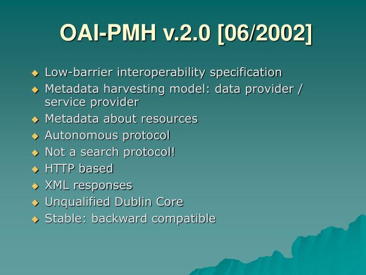 OAI-PMH v.2.0 [06/2002]