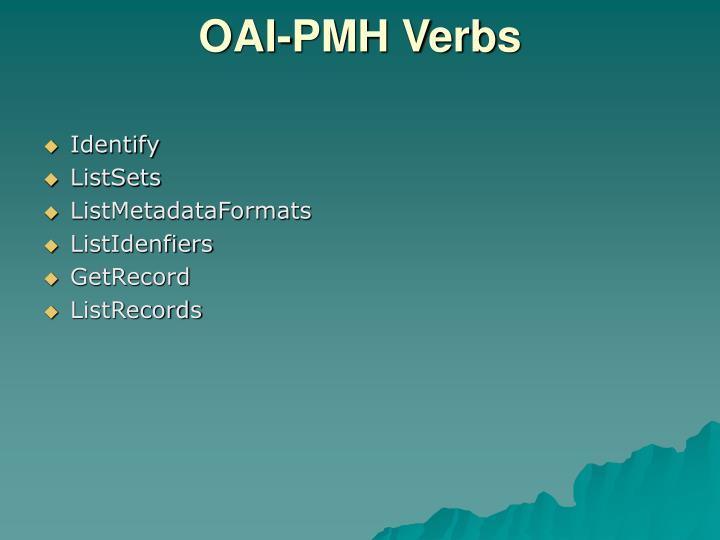 OAI-PMH Verbs